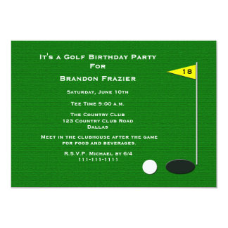 "Golf Birthday Party Invitation -- 18th Golf Hole 5"" X 7"" Invitation Card"