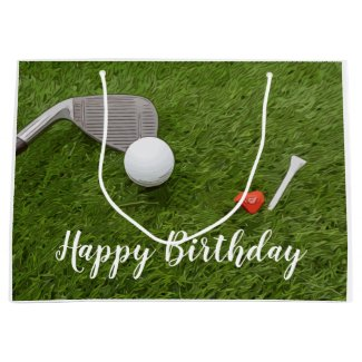 Golf birthday with golf ball and love shape large gift bag