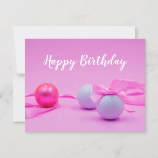 Golf birthday with golf ball and pink ribbon card