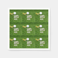 Golf birthday with golf ball and ribbon on green napkins