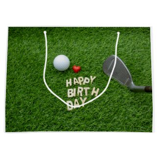 Golf birthday with golf ball and tee with love large gift bag
