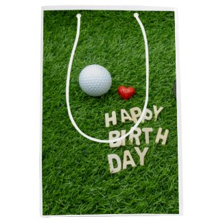 Golf birthday with golf ball and tee with love medium gift bag