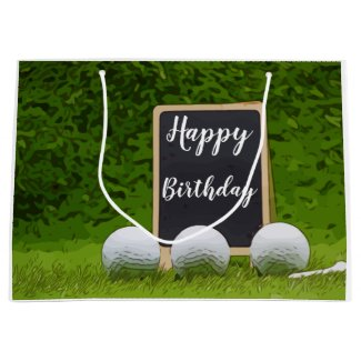Golf Birthday with golf balls on green grass Large Gift Bag
