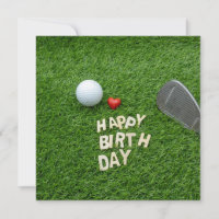 Golf birthday with love and golf ball & Sand wedge