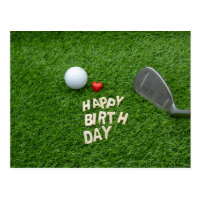 Golf birthday with love and golf ball & Sandwedge Postcard