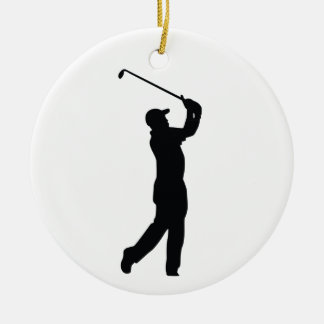 Golf Black Silhouette Shadow Ceramic Ornament