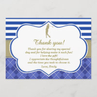 Golf Blue Gold Thank You Card Birthday Party