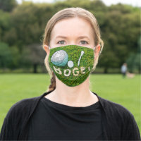 Golf bogey with golf ball and tee on green cloth face mask