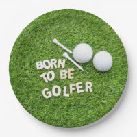 Golf Born to be golfer golf ball with tee on green Paper Plate
