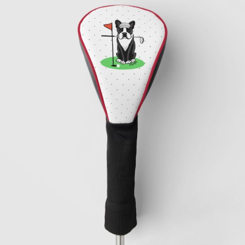 Golf Boston Terrier black Cute Dog Golf Head Cover