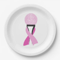 Golf Breast Cancer Awareness Pink Ribbon Paper Plate