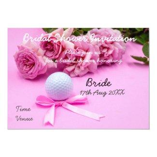 Golf Bridal Shower Invitation golf ball and roses