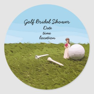 Golf bridal Shower Invitation with bride and golf Classic Round Sticker