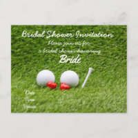 Golf bridal shower invitation with two golf balls