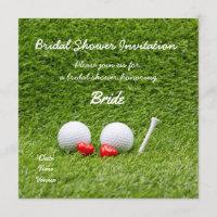 Golf bridal shower invitation with two golf balls