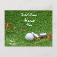 Golf bridal Shower with golf ball and cosmetic Invitation Postcard