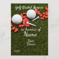 Golf Bridal Shower with golf ball and love hearts Invitation