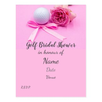 Golf Bridal Shower with golf ball and pink roses Postcard