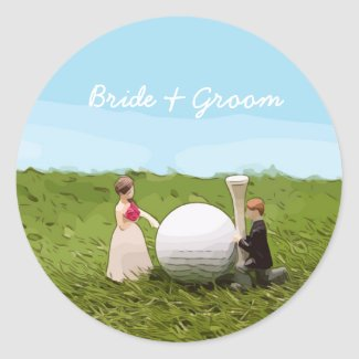 Golf bride and groom with golf ball tee Wedding Classic Round Sticker