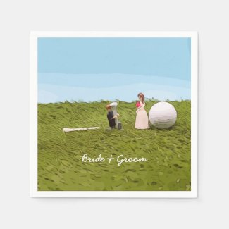 Golf bride and groom with golf ball tee Wedding Napkins