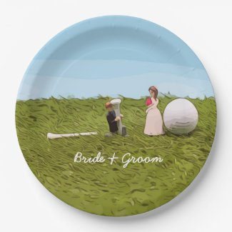 Golf bride and groom with golf ball tee Wedding Paper Plate