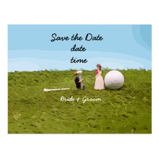Golf bride and groom with golf ball tee Wedding Postcard