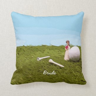 Golf bride  with golf ball tee Wedding Throw Pillow