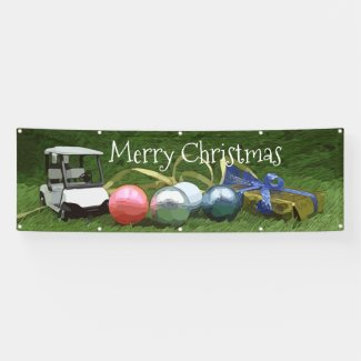 Golf buggy with golf balls and gift Christmas Banner