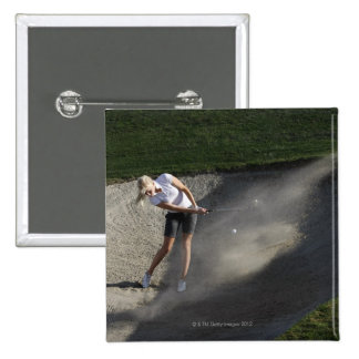Golf bunker action pinback buttons