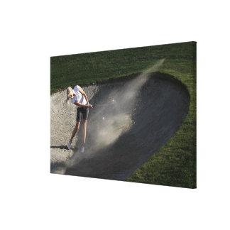 Golf bunker action canvas print