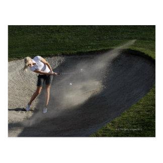 Golf bunker action postcard