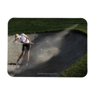 Golf bunker action rectangular photo magnet