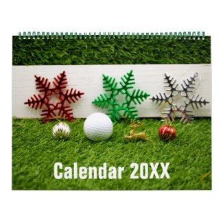 Golf Calendar  with golf ball Christmas New year