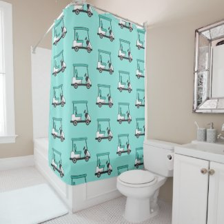 Golf cart all over mint green graphic  shower curtain