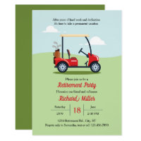 Golf Cart and Course Retirement Party Invitation