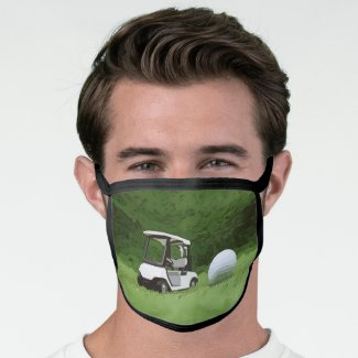 Golf cart and golf ball on green grass face mask
