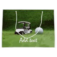 Golf cart and golf ball on green grass Golf Large Gift Bag