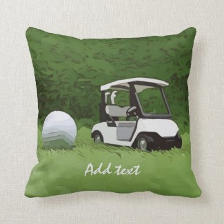 Golf cart and golf ball on green grass Golfer Throw Pillow