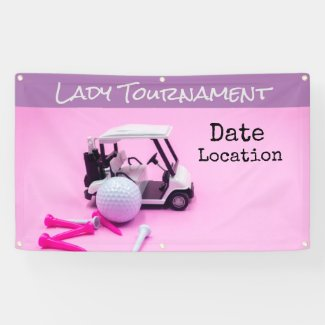 Golf cart and golf ball on pink background banner