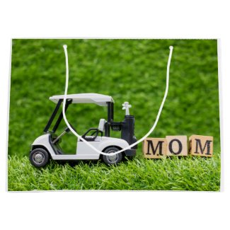 Golf cart and Mom word for Mother on green grass L Large Gift Bag