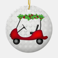Golf Cart Christmas 1 Ceramic Ornament