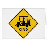 Golf Cart Crossing Highway Sign Greeting Cards