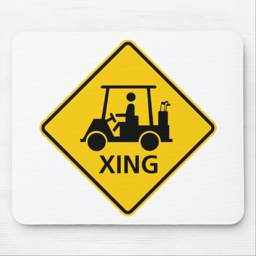 Golf Cart Crossing Highway Sign Mouse Pad