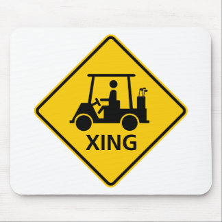 Golf Cart Crossing Highway Sign Mouse Mats