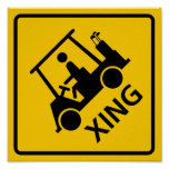 Golf Cart Crossing Highway Sign Posters