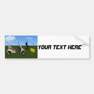 Golf Cart Crossing on Fairway Bumper Sticker