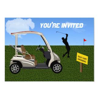 Golf Cart Crossing on Fairway Card