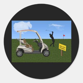 Golf Cart Crossing on Fairway Classic Round Sticker