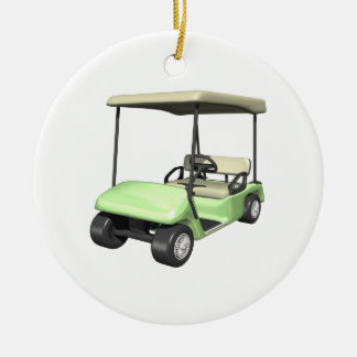 Golf Cart Double-Sided Ceramic Round Christmas Ornament