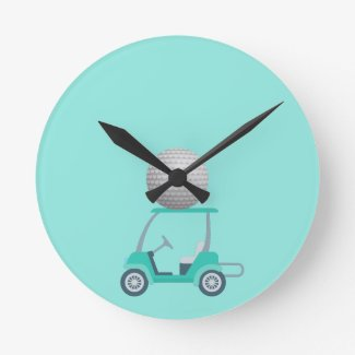 Golf cart go golfing all over mint green graphic  round clock